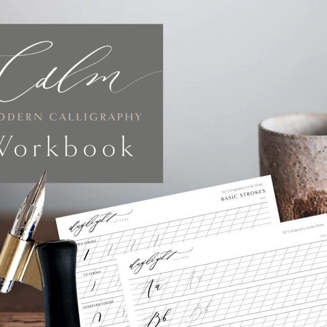 Calming calligraphy workbook