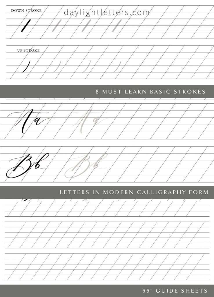 Modern calligraphy printable worksheet for calligraphy beginners