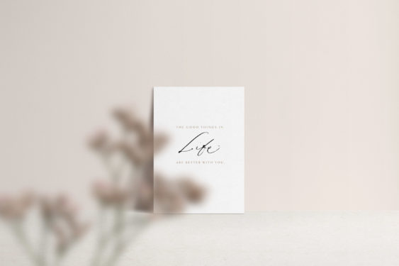 Love card with calligraphy