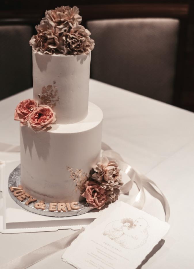zoey wedding cake with deckled edge wedding invitation