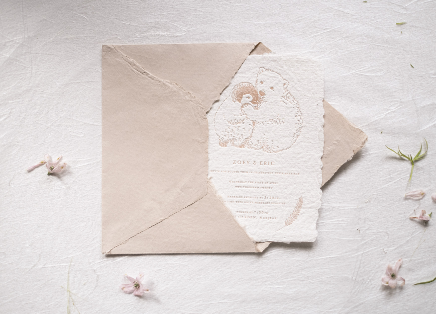animal wedding invitation in letterpress in blush color with cotton rag paper envelope