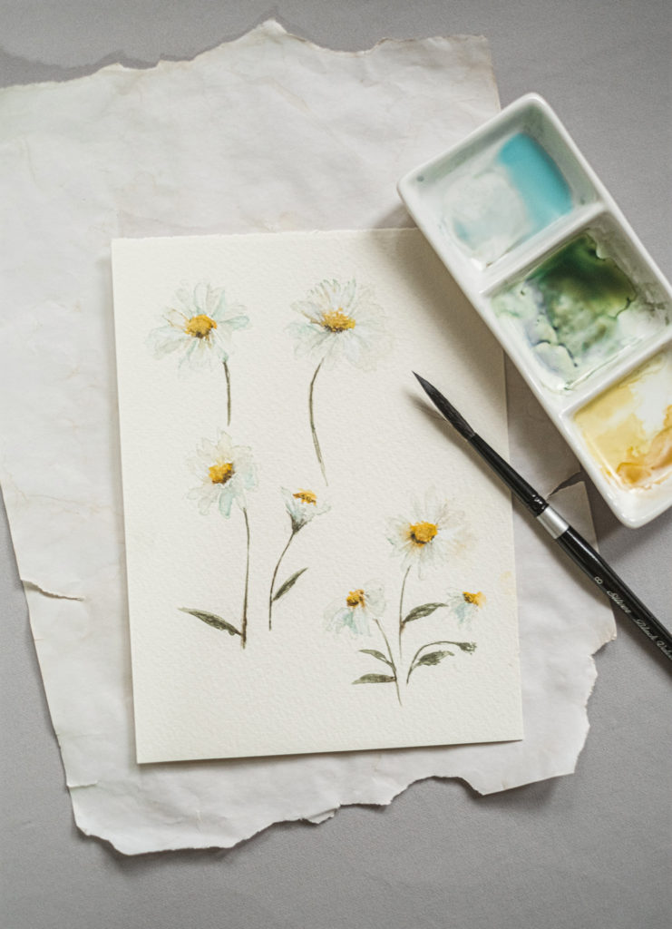 Wedding illustrator painting daisy