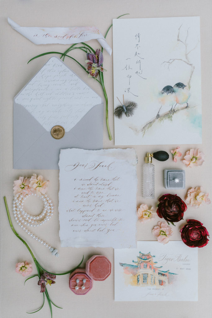 Love bird & Chinese Culture Wedding Stationery