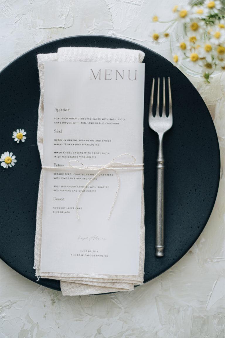 Daisy wedding menu-table styling