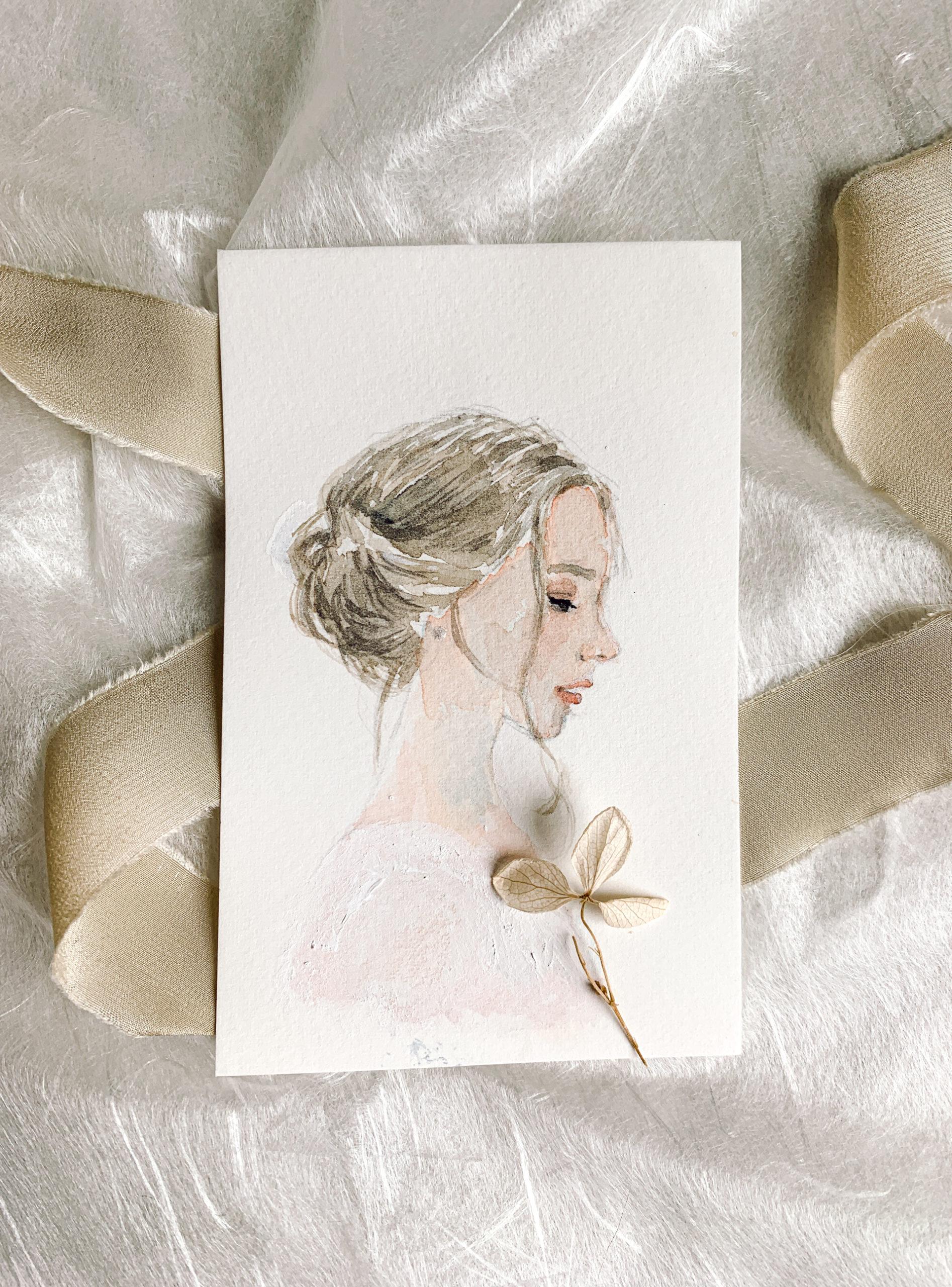 Bride hairstyle watercolor