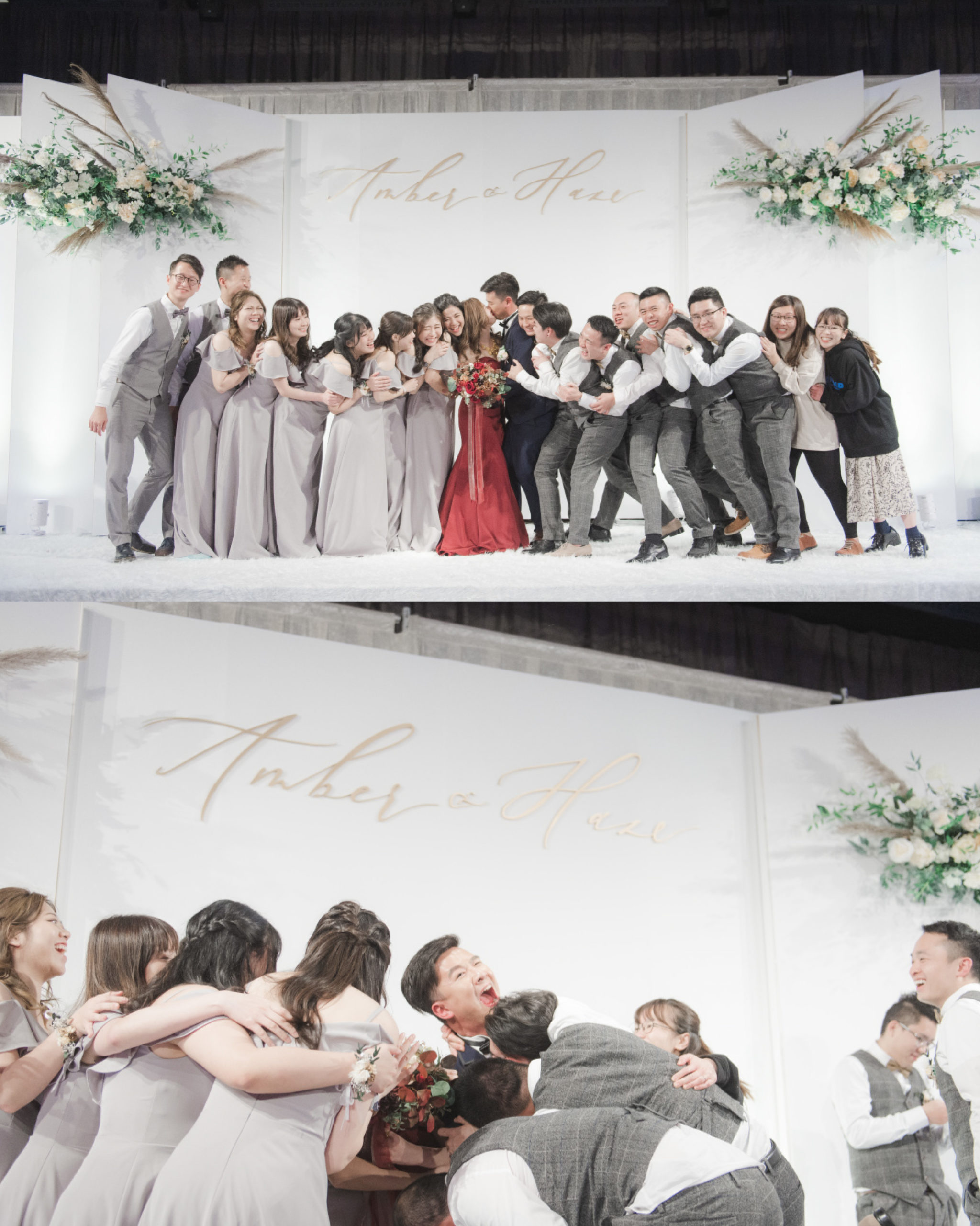 bridesmaid and groom with couples in front of the wedding backdrop