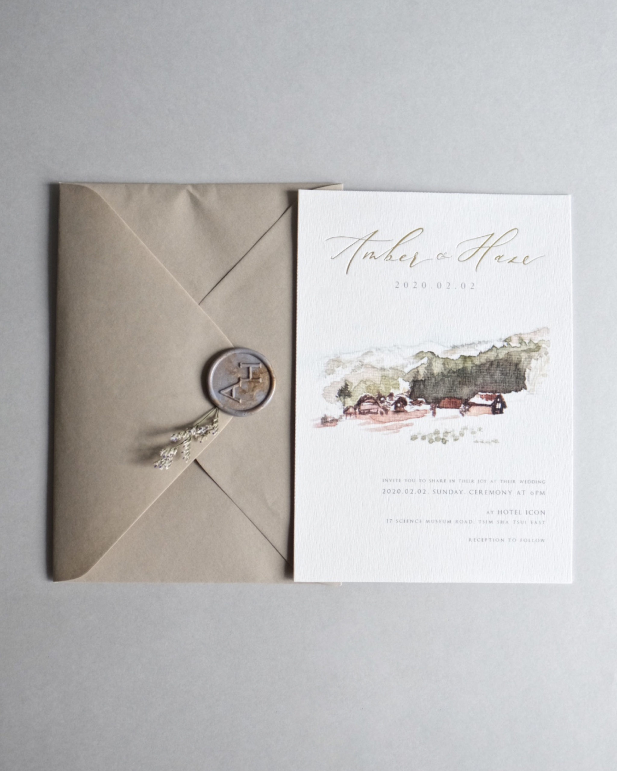 watercolor illustration invitation with taupe envelope with custom waxseals