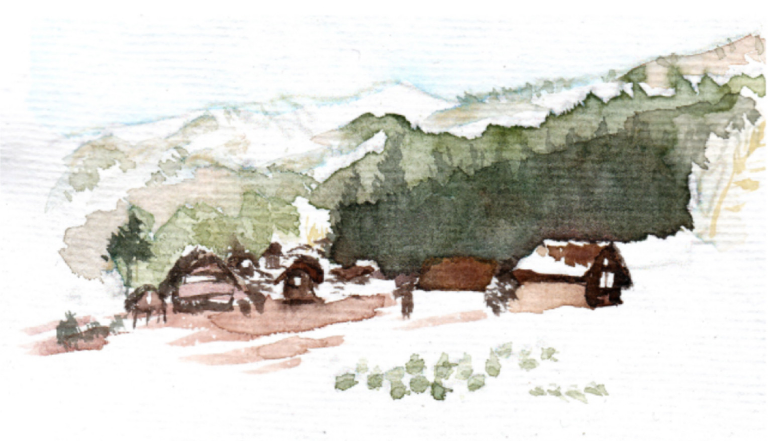 watercolor venue illustration japan shirakawago