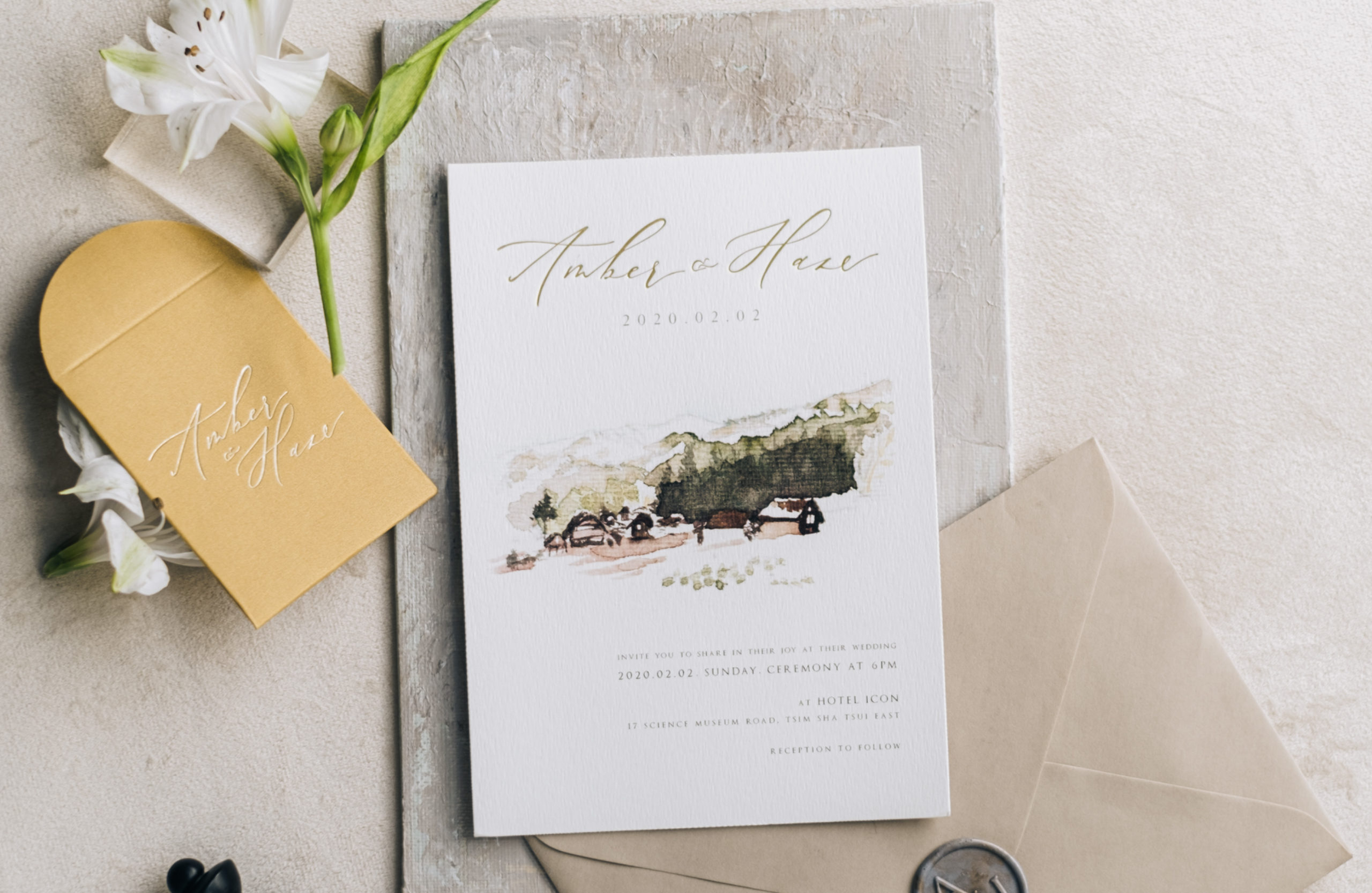 watercolor venue illustration stationery suite with flower styling-13