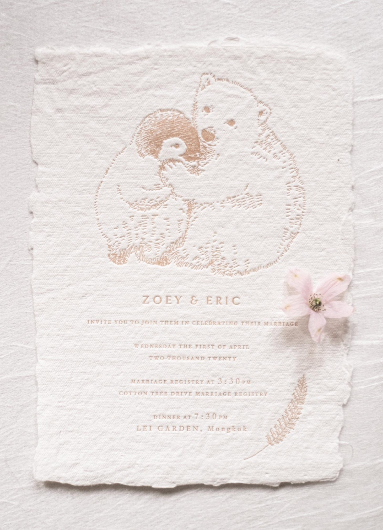 Polar-bear-and-penguin-invitation-in-letterpress-in-blush-color-cotton-rag-paper