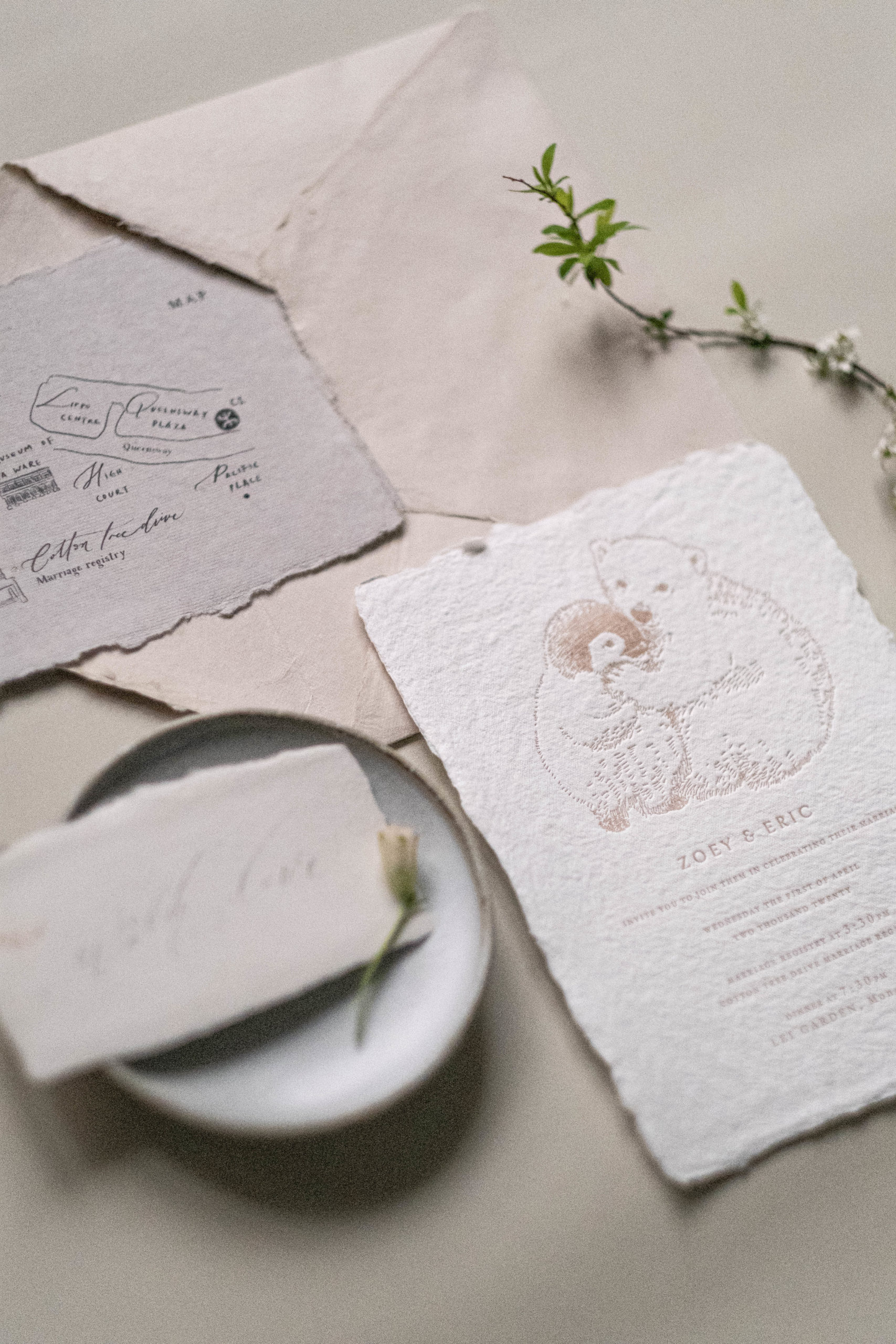 polar bear and penguin wedding suite in letterpress in blush color-cotton rag paper