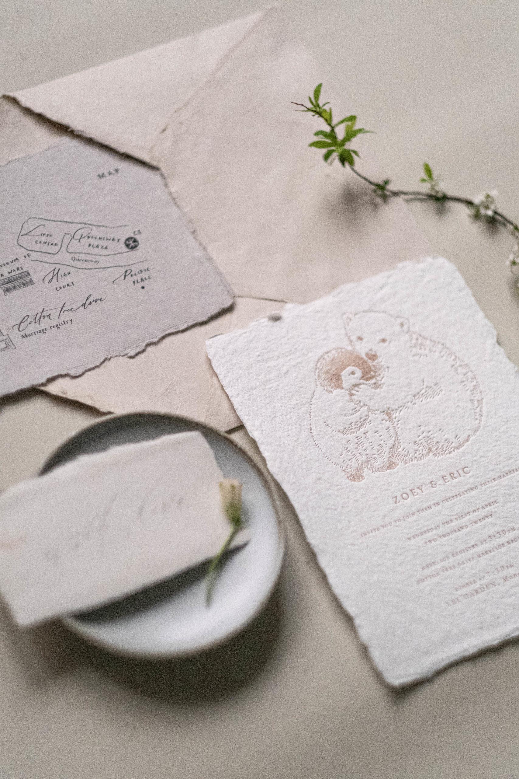 polar bear and penguin wedding suite in letterpress in blush color-cotton rag paper