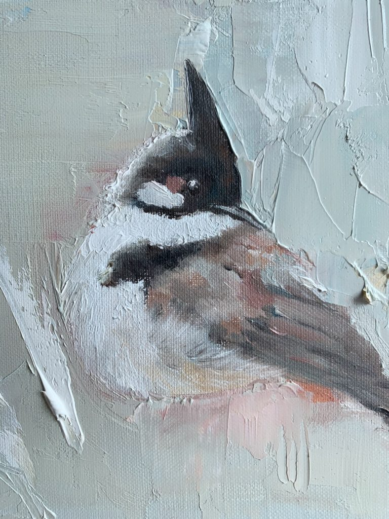 bird painting-Red-whiskered bulbul