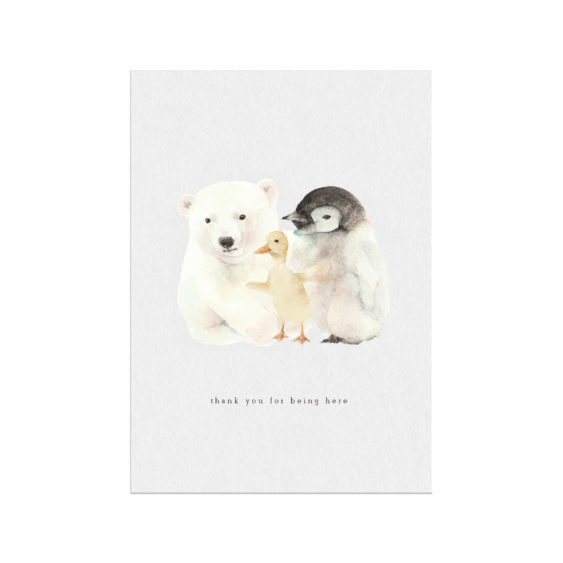 Polar bear, duck, penguin family gratitude Christmas Holiday card ,baby animal with gold flakes and Self love Motivation Calligraphy Design
