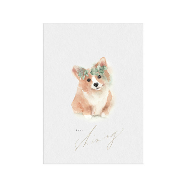 Corgi shining Christmas Holiday card
