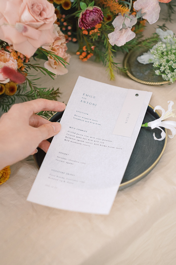 autumn floral wedding menu