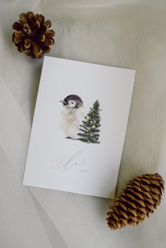 Penguin Christmas Holiday card with gold flakes and Self love Gratitude Motivation Calligraphy Design