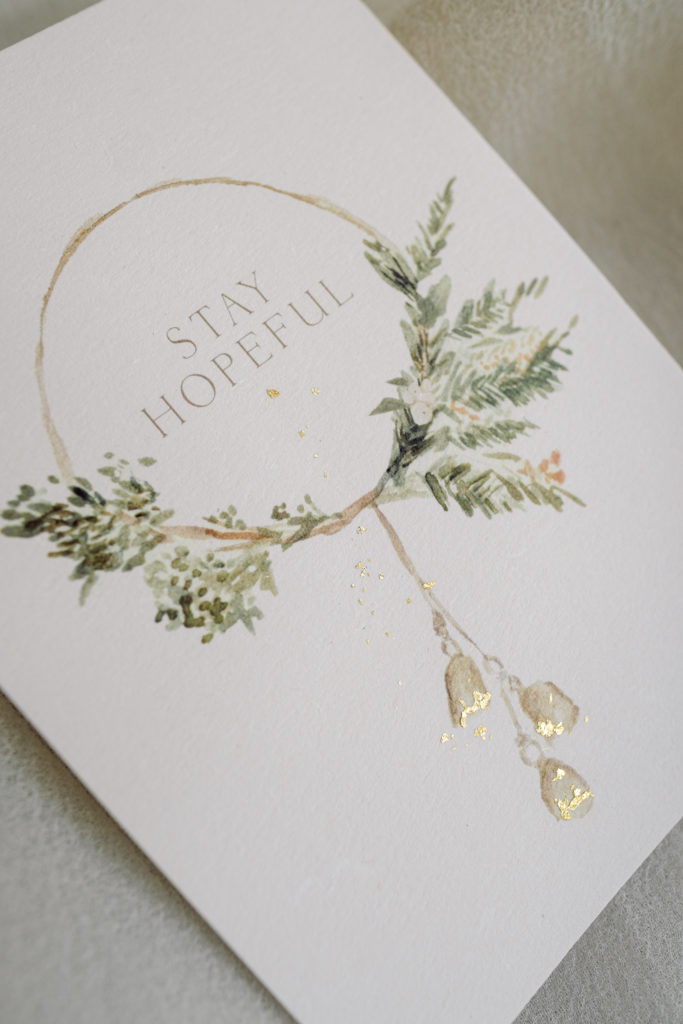 Stay hopeful Watercolor Christmas Wreath Holiday card , with gold flakes and Self love Gratitude Motivation Calligraphy Design
