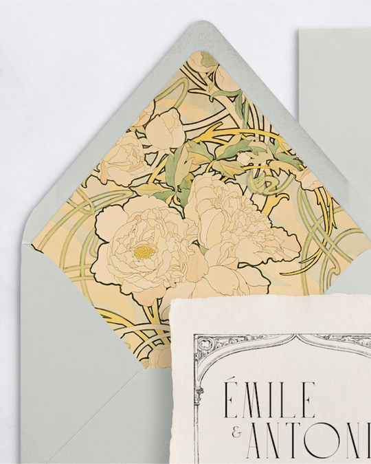 envelope liner with mucha floral pattern