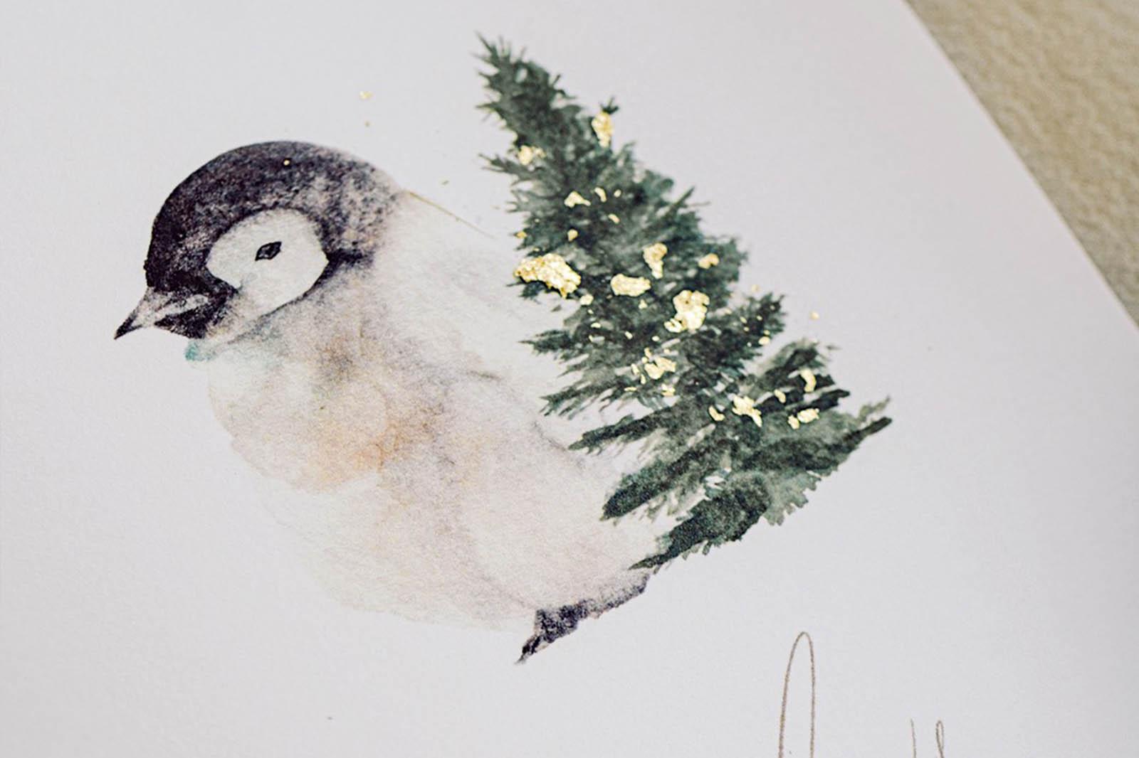 holiday christmas 2020 card animal gold