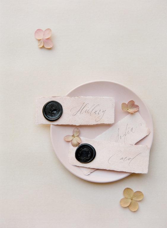 black wax seals blush place cards