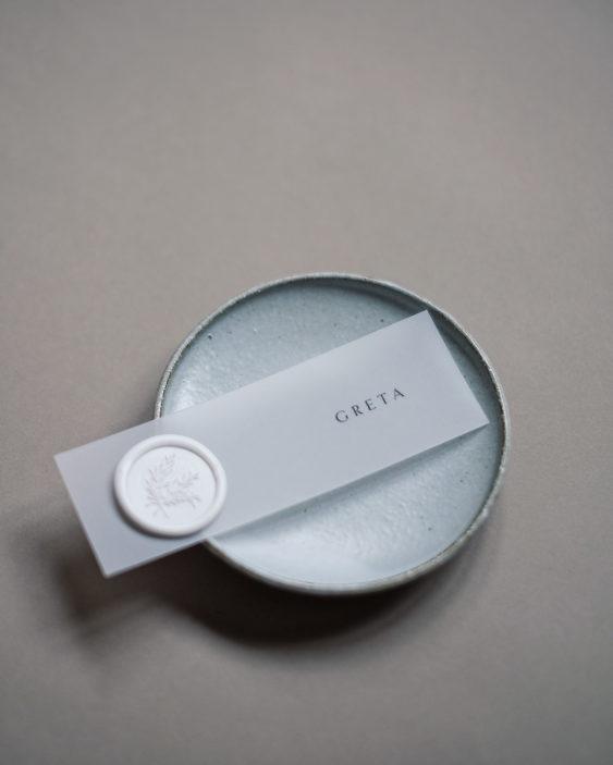 white wax seals vellum place card