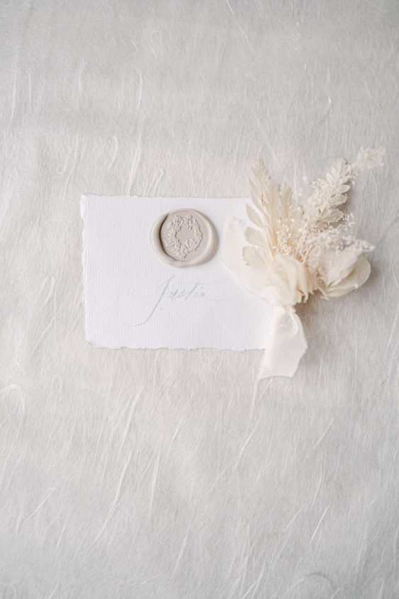 nude wax seals place card