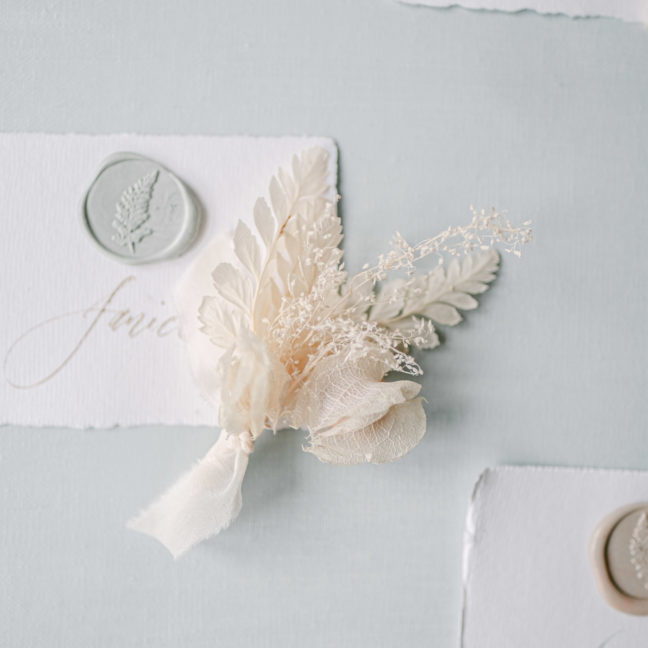 dusty blue wax seals place card